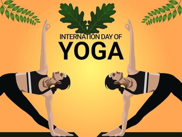 Internationale yogadag achtergrond met illustratie