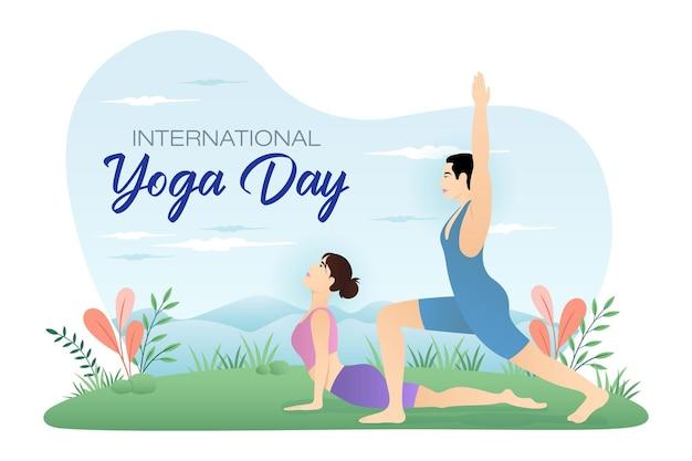 Internationale yogadag wereldyogadag koppel doet yoga in de tuin