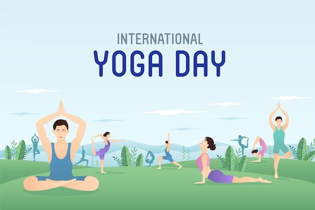 Internationale yogadag wereldyogadag mensen die yoga doen in de tuin