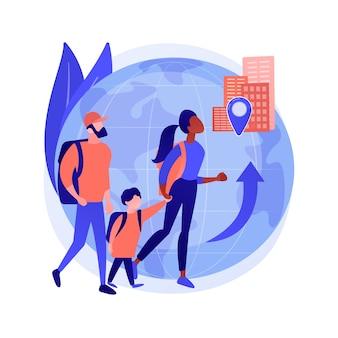Interne migratie abstract concept vectorillustratie. binnenlandse menselijke migratie, natuurramp, burgerlijke onlusten, arriveren in de hoofdstad, mensen met tassen, koffers, bewegend naar een abstracte metafoor.
