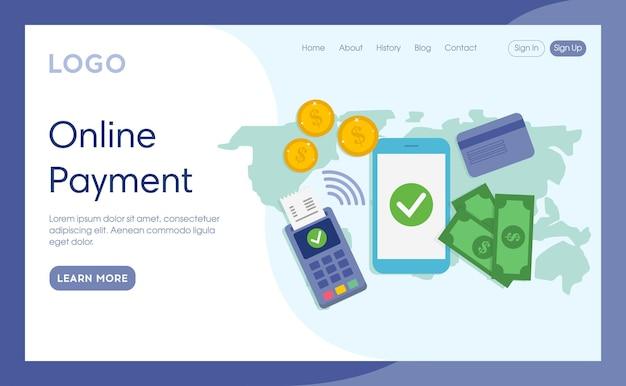 Internet-bestemmingspagina van online betaling