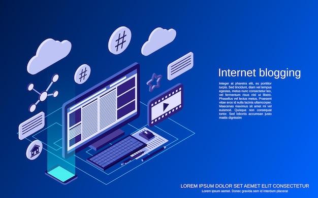 Internet bloggen platte 3d isometrische vector concept illustratie