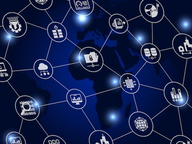 Internet-conceptenachtergrond - de overdracht van het wereldweb