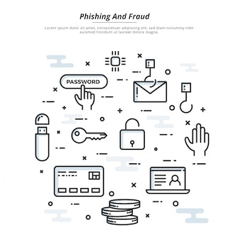 Internet cyber aanvallen, phising en fraude heck concept, platte stijl. fintechnologie (financiële technologie) achtergrond.