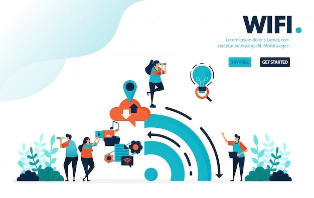 Internet en wifi, big data uit de geschiedenis van internetgebruik op sociale media.