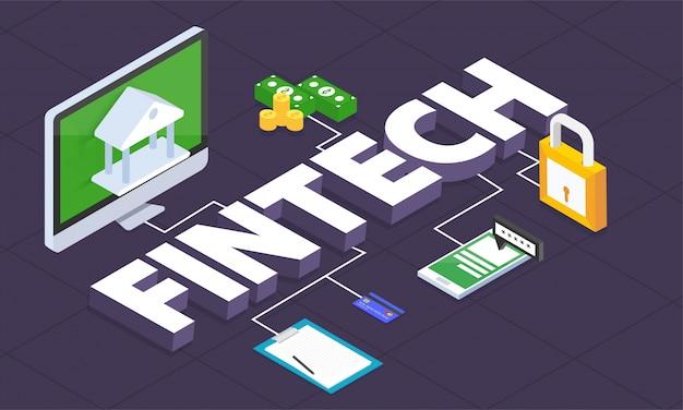 Internet geld, veilige betalingstransactie, betalingsmechanisme. fintech (financiële technologie) achtergrond. 3d-stijl.