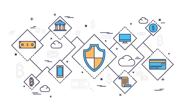 Internet geld, veilige betalingstransactie, betalingsmechanisme. fintech (financiële technologie) achtergrond. kleurrijke platte stijl illustratie.
