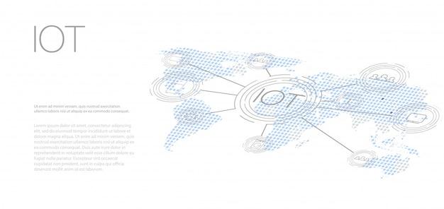 Internet of things (iot), apparaten en connectiviteitsconcepten op een netwerk,