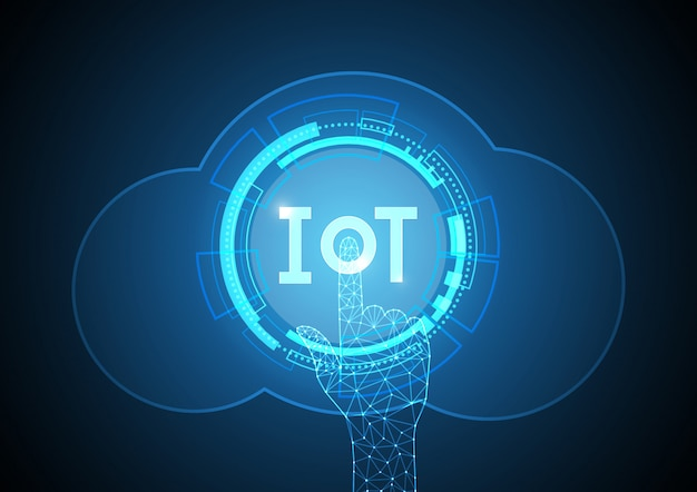 Internet of things-technologie cirkel cloud point. iot