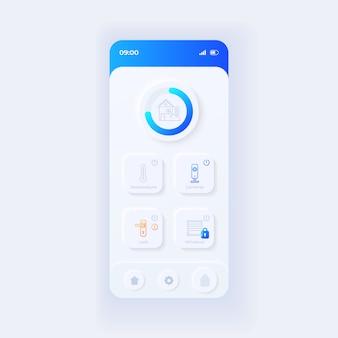 Internet of things-toepassingssjabloon voor smartphone-interface. mobiele app-pagina lichtontwerp lay-out. slim startscherm. ui voor applicatie. beveiliging en klimaatregeling op telefoondisplay.