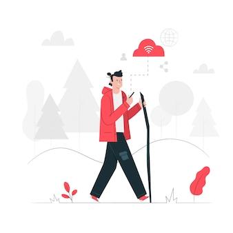 Internet onderweg concept illustratie