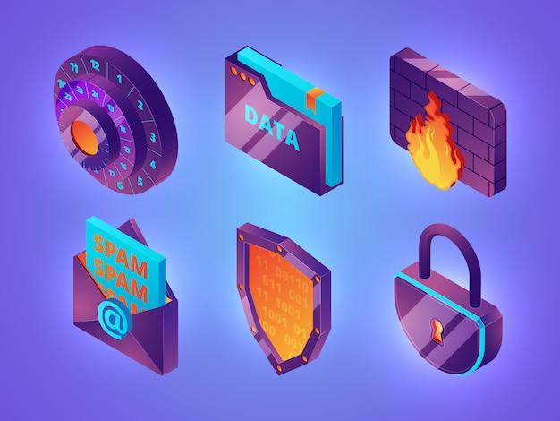 Internet online beveiliging 3d. persoonlijke gegevens webbescherming veiligheid computer internetdiensten firewall isometrische afbeeldingen