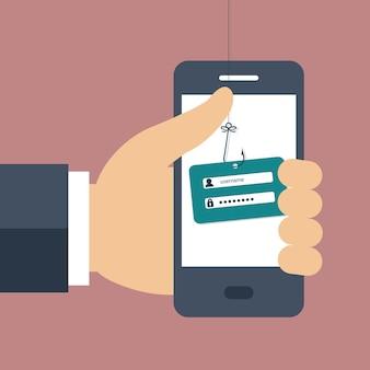 Internet phishing een login en wachtwoord concept