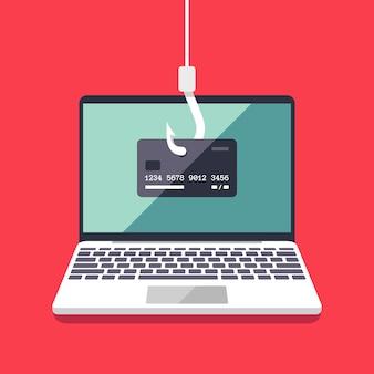 Internet phishing en hacking aanval vector platte concept. e-mail spoofing en persoonlijke informatie beveiligingsachtergrond. illustratie van internetaanval op creditcard