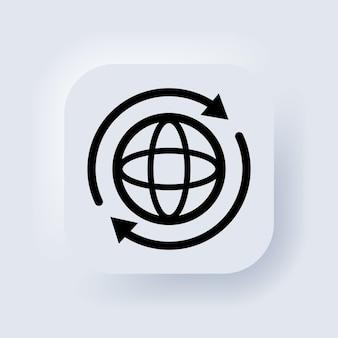 Internet-pictogram. wereld internationale aarde wereldbol icoon. ronde bol met pijlen rond teken. globe symbool silhouet. wereld teken. neumorphic ui ux gebruikersinterface webknop. vector.