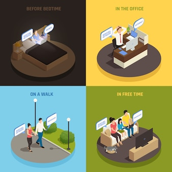 Internet smartphone gadget verslaving isometrisch ontwerpconcept met mensen personages en apparaten in verschillende situaties vector illustratie