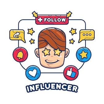 Internet social media verslaafde influencer illustratie concept