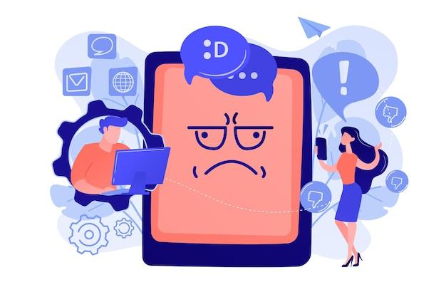 Internet-trol die ruzie maakt en gebruiker online en tablet met trolgezicht van streek maakt. internet trollen, digitale intimidatie, internetgedragsconcept. roze koraal bluevector geïsoleerde illustratie