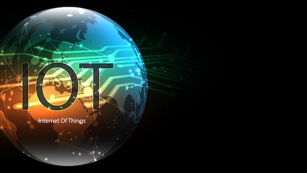 Internet van dingen. iot-connectiviteitsconcept. netwerk globale verbindende technische achtergrond