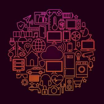Internet van dingen lijn pictogram concept. vectorillustratie van smart home technology-objecten.