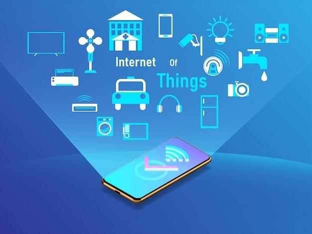 Internet van het concept van het dingenontwerp met smartphone.