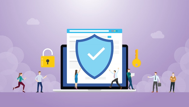 Internet veiligheidsconcept met browser en mensen, vlakke stijl