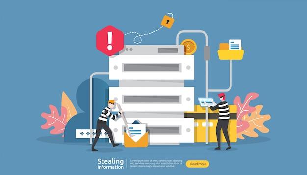 Internet veiligheidsconcept met mensenkarakter. wachtwoord phishing aanval. het stelen van persoonlijke gegevens