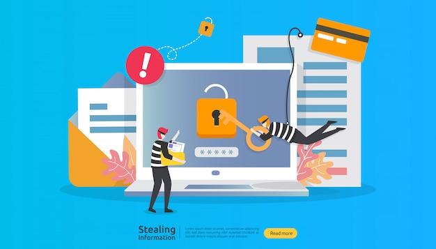 Internet veiligheidsconcept met mensenkarakter. wachtwoord phishing aanval. het stelen van persoonlijke gegevensgegevensweb