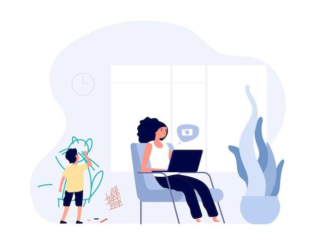 Internet verslaving. moeder surft op internet met laptop. kid creëert chaos in huis. alleenstaande moeder vector teken. illustratie moeder met laptop, vrouw verslaving online