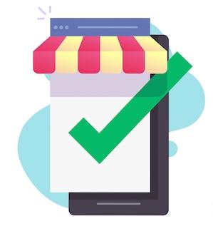 Internet winkel winkel online e-commerce op mobiele telefoon scherm vector