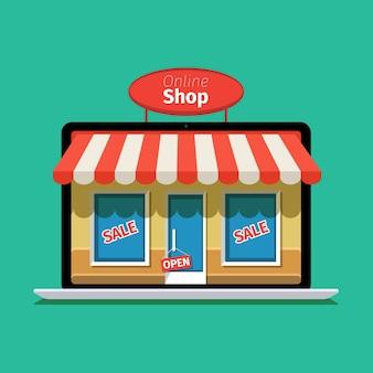 Internet winkelen concept. e-commerce. online winkel. webgeld en betalingen. betaal per klik.