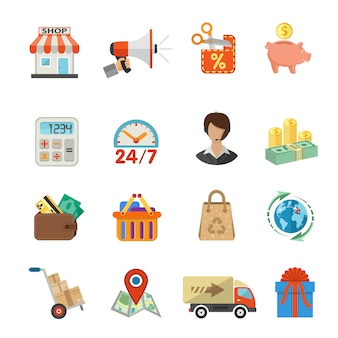 Internet winkelen en levering platte icon set