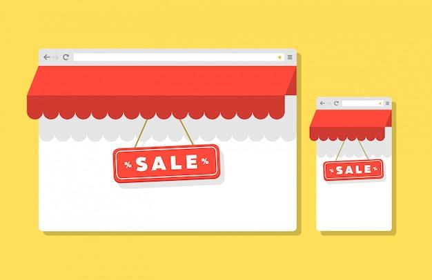 Internet winkelen platte stijl browser t