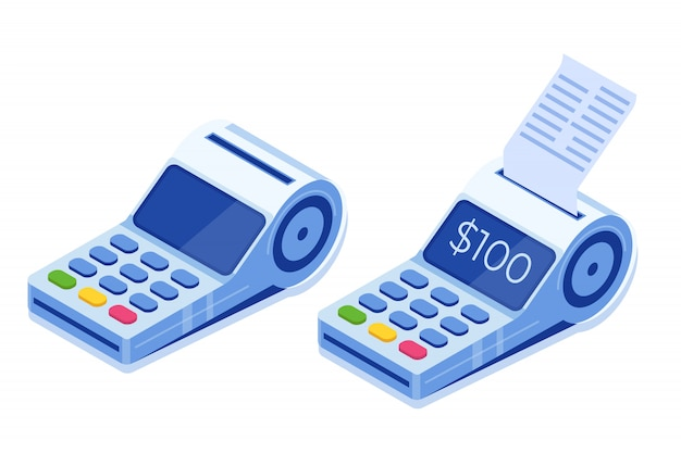 Internetbankieren, digitale mobiele betaling, isometrische pos-terminal isometrisch