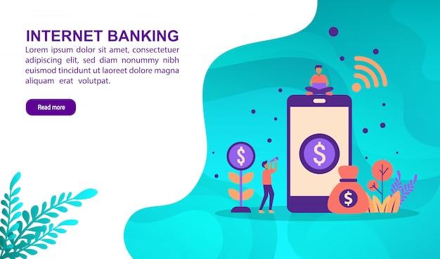 Internetbankieren illustratieconcept met karakter. bestemmingspaginasjabloon