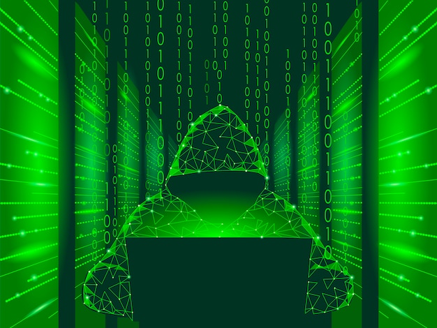 Internetbeveiliging cyberaanval bedrijfsconcept laag poly, anonieme hacker
