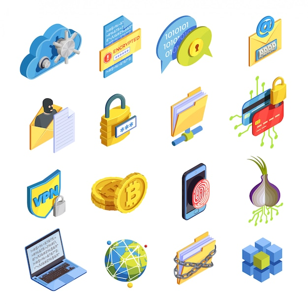 Internetbeveiliging icon set