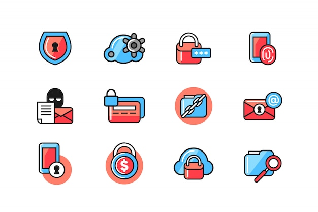 Internetbeveiliging icon set