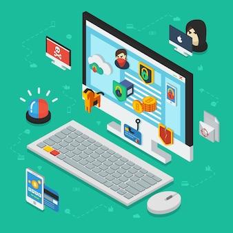 Internetbeveiliging isometrisch ontwerp