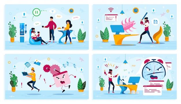 Internetbeveiliging, office work concepts set