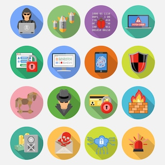 Internetbeveiliging platte icon set