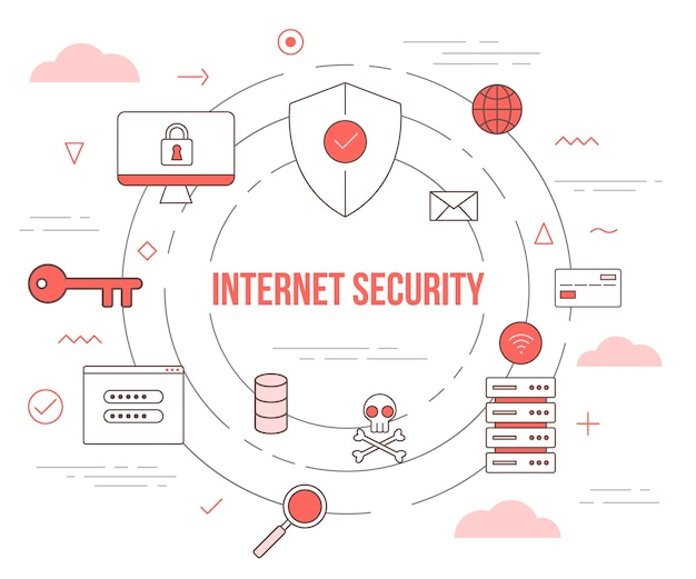 Internetbeveiligingstechnologieconcept met illustratie ingesteld sjabloon met moderne oranje kleurstijl