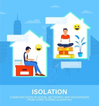 Internetcommunicatie in sociale netwerken en boodschappers tijdens quarantaine.