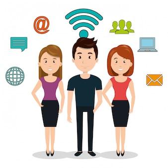 Internetcommunicatie technologie geïsoleerd pictogram