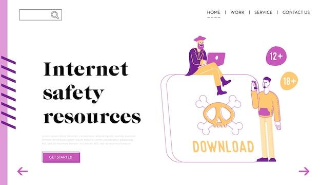 Internetcriminaliteit en pirateninformatie stelen bestemmingspaginasjabloon