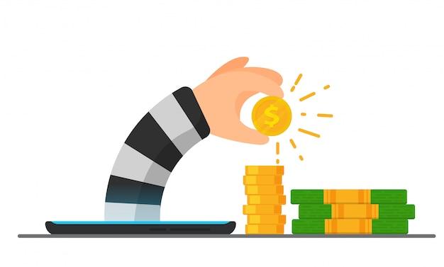 Internetcriminaliteit hacker, de hand van de hacker verschijnt uit een mobiele telefoon om een dollar te stelen.