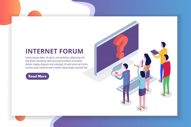 Internetforum, communicerende mensen, isometrisch concept van de samenleving. illustratie