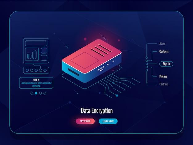 Internethub, router verkeerssplitser, data-encryptie-concept, rood-blauwe kleur, serverruimte