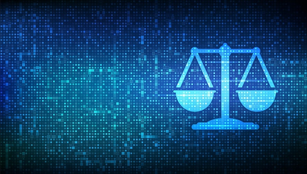 Internetrecht icoon gemaakt met binaire code