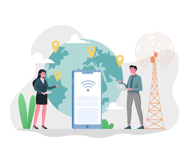 Internetverbinding over de hele wereld illustratie